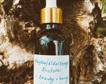 Thyme & Elderberry tincture with cinnamon in brandy and honey