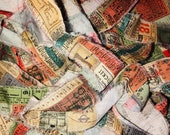 Hand Torn Travel Journey Ticket Fabric Ribbon Strips for Snippets, Junk Journals, Crazy Quilts, Fabric Banners
