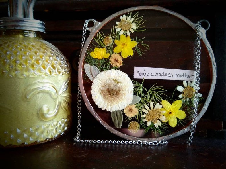 You/'re a badass Mother/'s Day gift rustic flower arrangement in floating frame gift for her flower art real pressed flowers in glass