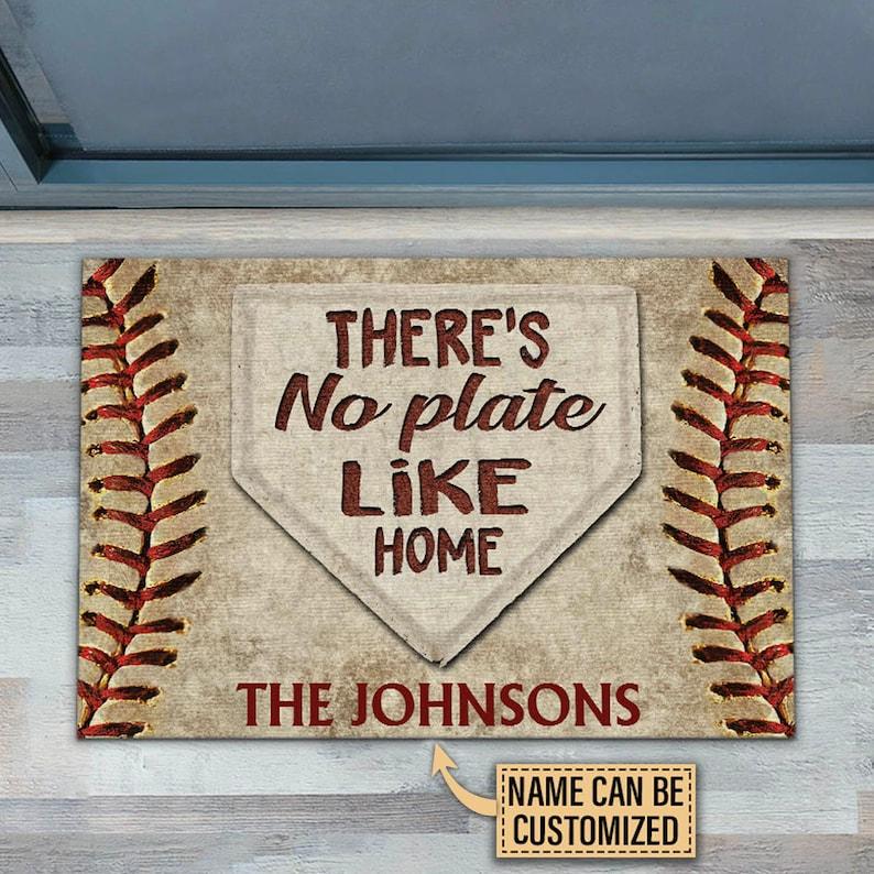 Gearhuman – Personalized Baseball No Plate Like Home Customized Doormat