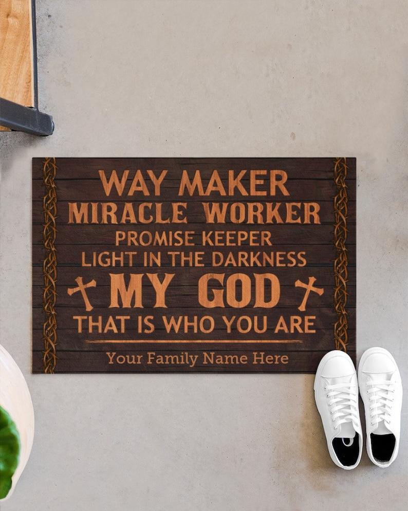 Gearhuman – Jesus Way Maker Miracle ?orker Doormat Personalized Gifts