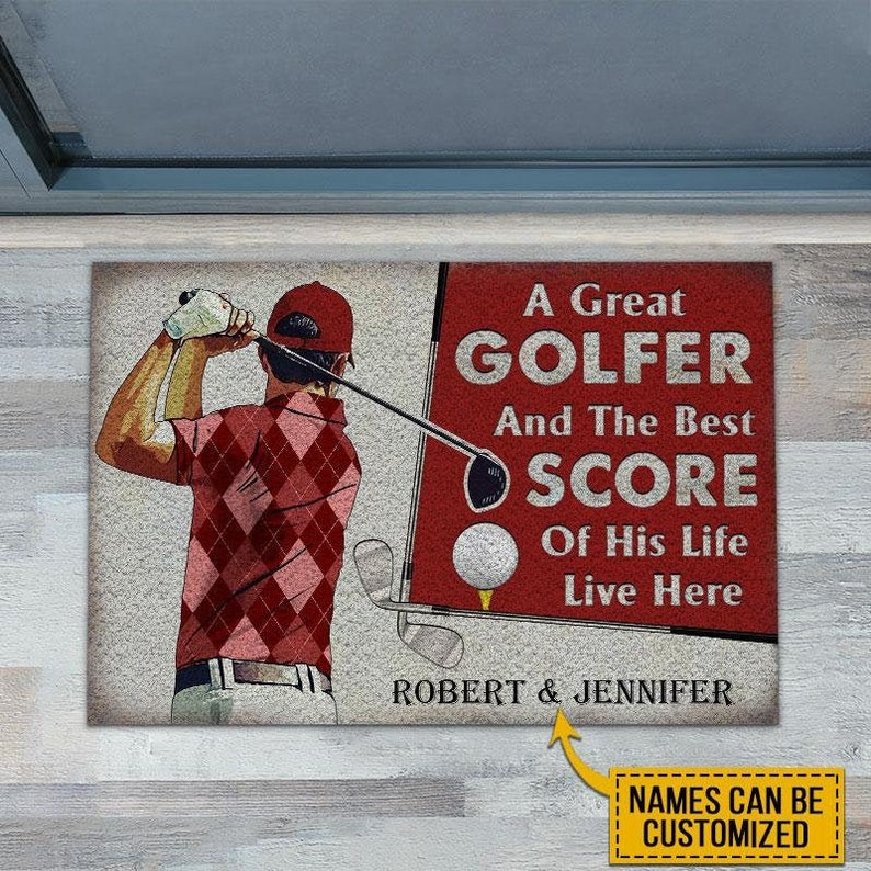 Gearhuman – Personalized Golf Red Couple Golfer Best Score Live Customized Doormat, Door mat, Custom, Personalized Gift, Closing Gift, Home Decor