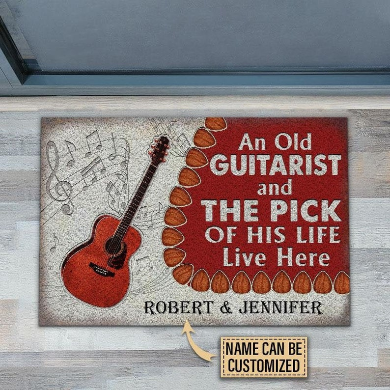 Gearhuman – Personalized Acoustic Old Couple Live Here Customized Doormat