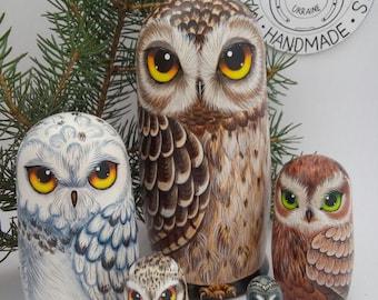 Owl Matryoshka  Nesting Dolls 17,5 cm, Nesting Dolls 5 pcs, Kids Gift, Animal Nesting Toys, Room Decor, Gift for Mom, Owl Decor