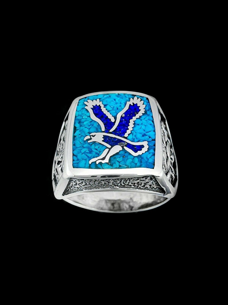 Eagle Ring 925 Sterling Silver Ring Mountain Scene Ring Native American Ring