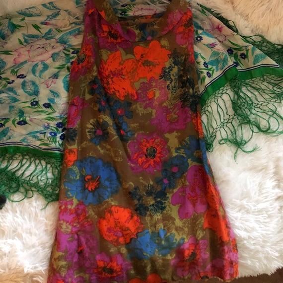 1960s vintage psychedelic mod mini dress