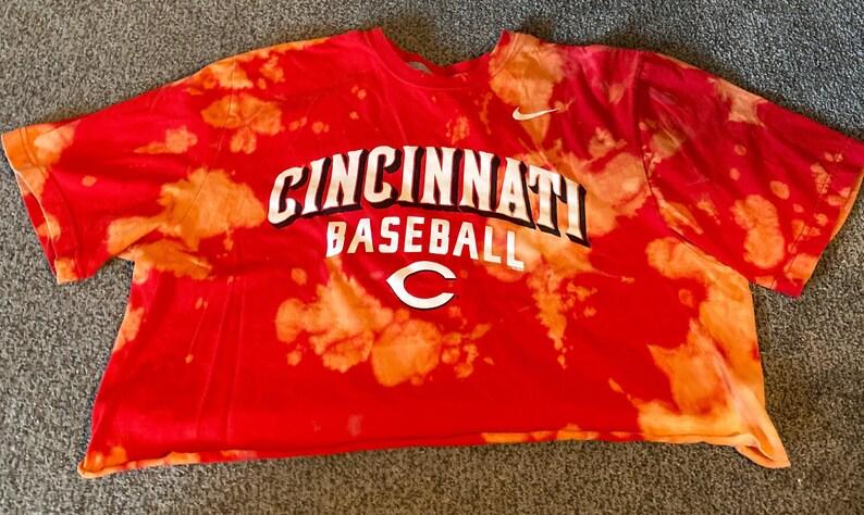 Repurposed distressed Cincinnati reds crop top