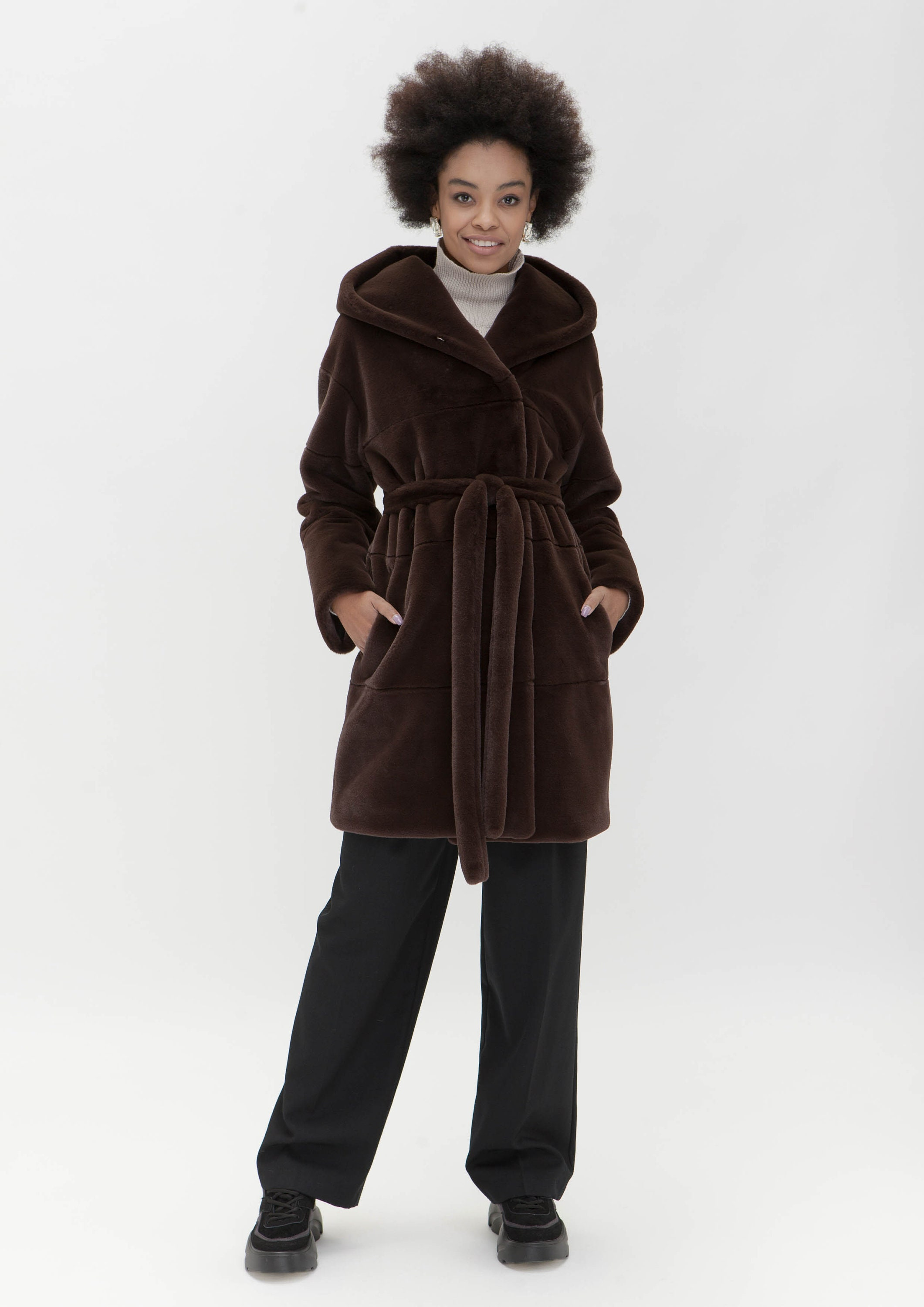 Double-breasted eco-fur coat with a hood - Color macadamia (809)