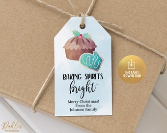 2 Printable Christmas Cookie Tag Merry Christmas To From Santa Tag Christmas Winter Tag Christmas Cookie Tag Goodie tag