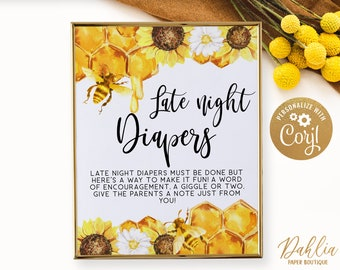 WLP-BEE 3295 Honey Late Night Diapers Sign Bee Printable Late Night Diapers Sign Diaper Thoughts Signs Bee Baby Shower Sign