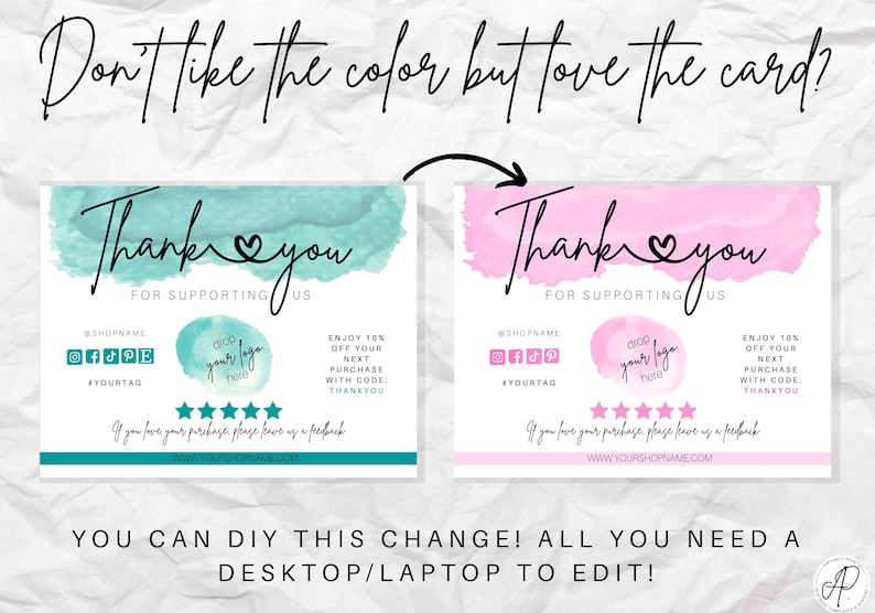 Business Thank You Card Template for Small Business | Etsy