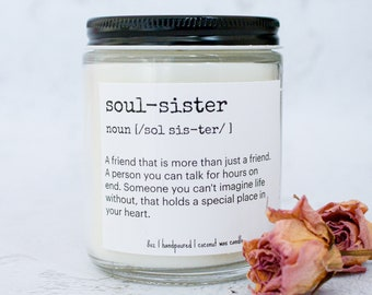 Soul Sister Gift Candle | Soul Sister Definition Candle | Birthday Gift for Best Friend | Funny Candle For Bestie | Gag Gift