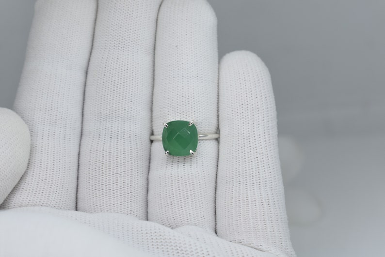 Natural Green Onyx Ring 4 Prong Set Ring 925 Sterling Silver Ring Cushion Shape Ring Faceted Gemstone Single Band Ring Statement Ring