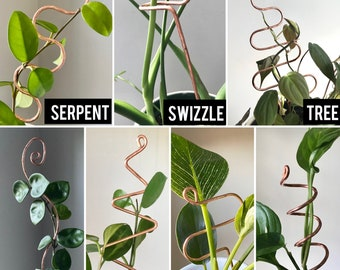 Copper Plant Stick - Choose from 12 Designs - Copper Stem Supporter - Houseplant and Hoya Plant Stick