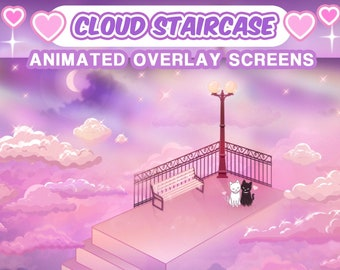 """Aesthetic Animated Screens : """"Cloud Staircase""""   Loading, Paused, Offline   Aesthetic, Stairs, Clouds, Sky, Stars, Moon, Sparkles, Kitties"""