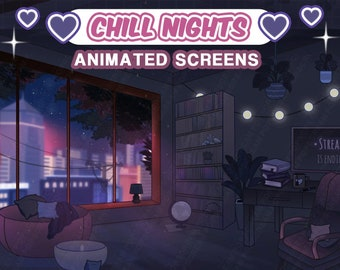 """Aesthetic Animated Screens : """"Chill Nights""""   Loading, Paused, Offline   Aesthetic, Desk, Sunset, City, Lamp, Desk, Plants, Succulents"""