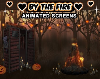 """Creepy Animated Screens : """"By the Fire""""   Loading, Paused, Offline   Creepy, Halloween, Skulls, Fire, Totems, Candles, Lights, Trees"""
