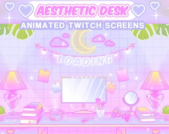 """Aesthetic Twitch Screens Animated: """"My Cute Desk""""   Loading, Paused, Offline   Aesthetic, Desk, Controller, Streamer, Pastel, Neon Signs"""
