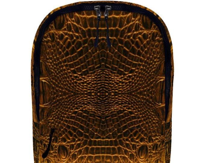 Crocodile Pattern Vegan Leather Backpack Travel Work School Full Print Backpack