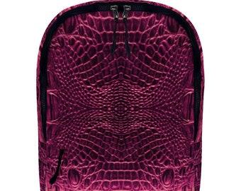 Pink Crocodile  Vegan Leather Full Print Backpack Travel Work School Backpack