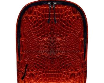 Red Crocodile Vegan Leather Full Print Backpack Travel Work School Backpack