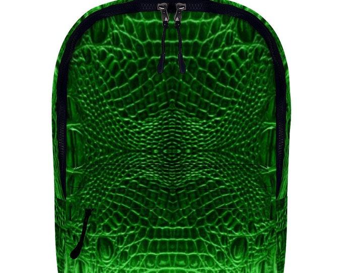 Green Crocodile Vegan Leather Backpack  Full Print Travel Work School Backpack