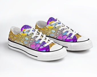 Yellow Bubbles Canvas Sneakers Low Top Lace Up, Unisex Canvas Sneaker, Casual Shoes
