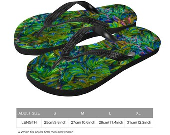 Floral Bright Colorful Flip-Flops Beach Thongs Artistic Summer Shoes