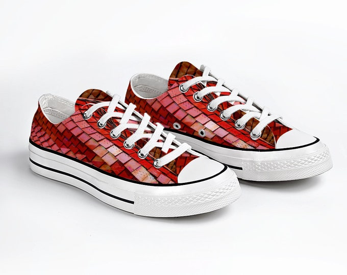 Red Unisex Sneakers Fashion Low Top Lace up Canvas Sneaker Casual Shoes