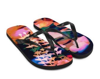 Geisha Blossom Flip-Flops Colorful Printed Thongs Shoes