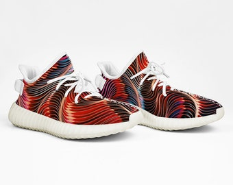 Yeezy Boost 350 V2 Colorful Abstract Sneakers Lightweight Running Shoes