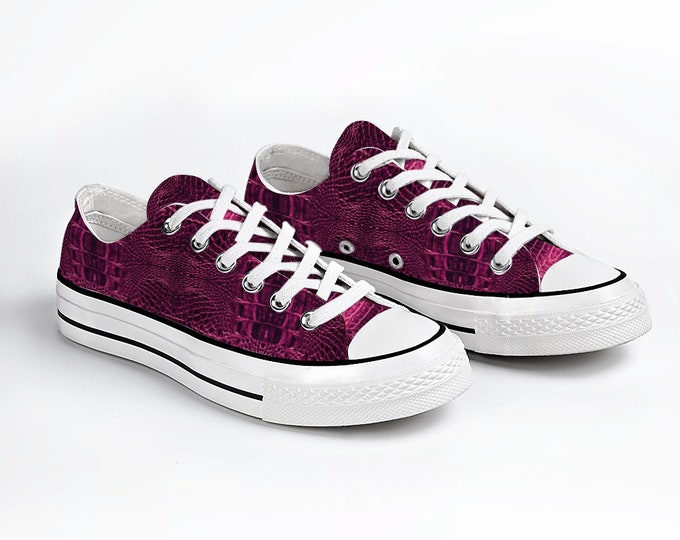 Pink Crocodile Unisex Canvas Sneakers Fashion Low Top Lace up Canvas Sneaker Casual Shoes