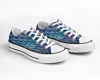 Blue Velvet Canvas Sneakers, Low Top Lace up Canvas Sneaker, Casual Shoes