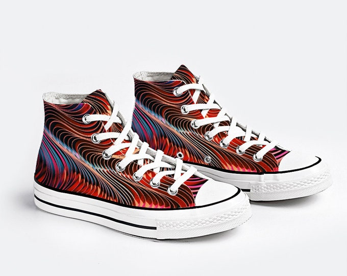 Colorful Abstract Design Canvas Sneakers Fashion High Top Lace up Canvas Sneaker Casual Shoes