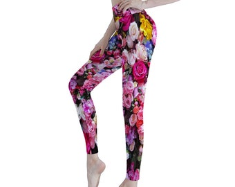 Roses Women's Sports Yoga Pants Athletic Pants Classic Fit Printed Leggings Workout Gym