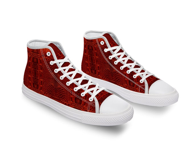 Red Crocodile Comfortable Canvas High Top Shoes for Men Women