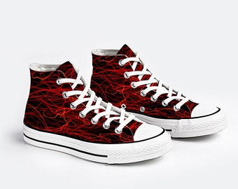 Black Red Canvas Sneakers Fashion High Top Lace up Canvas Sneaker Casual Shoes