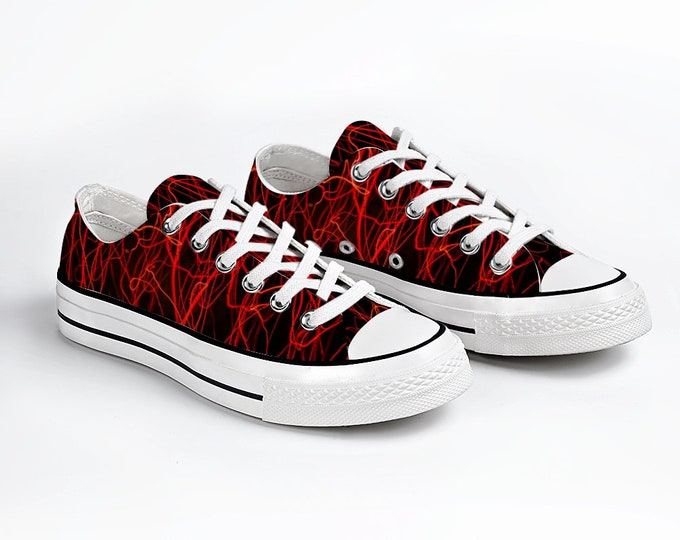 Black Red Canvas Sneakers, Low Top Lace up Unisex Canvas Sneaker, Casual Shoes