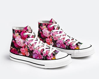 Roses Canvas Sneakers High Top Lace up Canvas Sneaker Casual Shoes