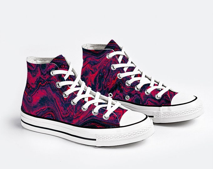 Pink Blue Canvas Sneakers High Top Lace up Canvas Sneaker Casual Shoes