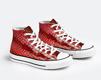 Red High Top Lace up Canvas Sneaker Casual Shoes