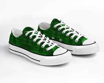 Green Unisex Canvas Sneakers Fashion Low Top Lace up Canvas Sneaker Casual Shoes
