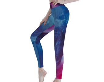 Blue Red Women's Sports Yoga Pants Athletic Pants Classic Fit Printed Leggings Workout Gym