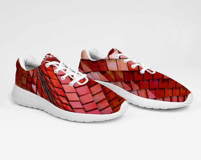 Red Abstract Design Breathable Sneakers Ultra Lightweight Running Shoes