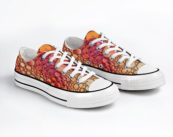 Orange Bubbles Canvas Sneakers Low Top Lace Up Canvas Sneaker Unisex Casual Shoes