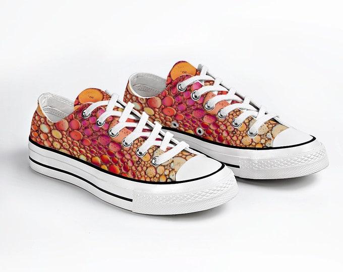 Orange Bubbles Canvas Sneakers Low Top Lace Up Canvas Sneaker Unisex Casual Shoes