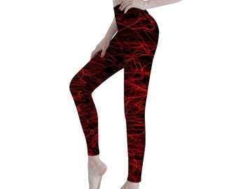 Black Red Women's Sports Yoga Pants Athletic Pants Classic Fit Printed Leggings Workout Gym