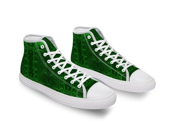 Green Crocodile Comfortable Canvas High Top Shoes for Men Women