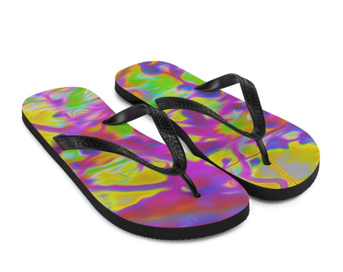 Solarisation Colorful Flip-Flops Printed Thongs Shoes