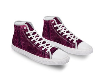 Pink Crocodile Canvas High Top Shoes for Men Women